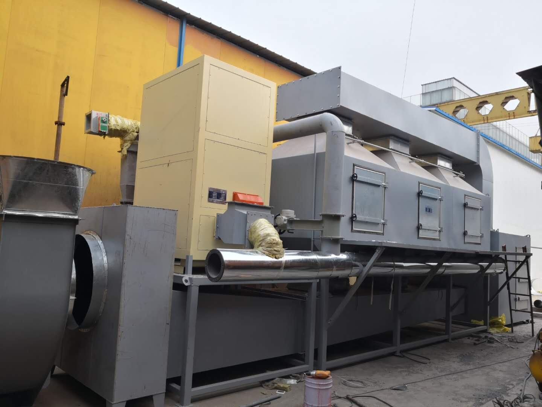 河南郑州喷漆房废气治理40000m3/h催化燃烧设备已安装完成